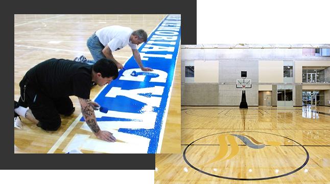 hardwood sports floor installation