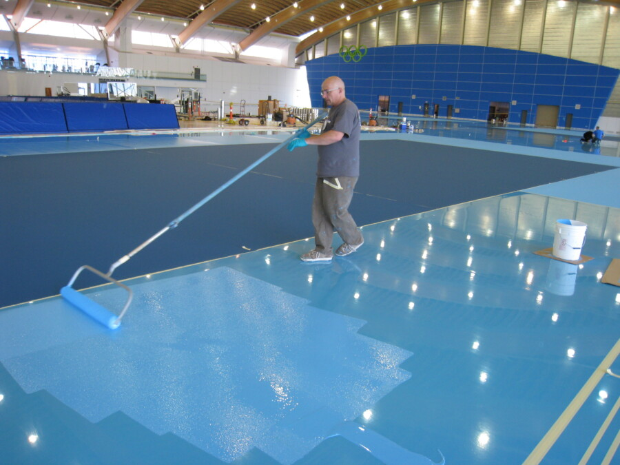 synthetic gym floor installation