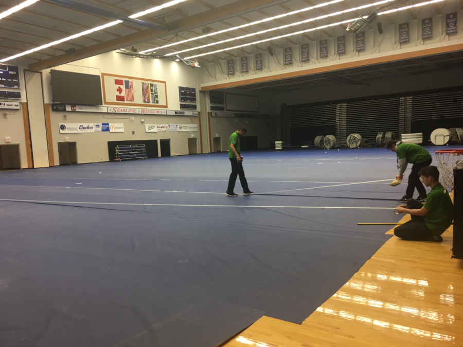 gym floor cover installation